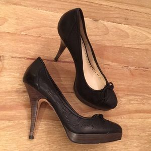Coach Black Perforated Leather Platform Stilettos